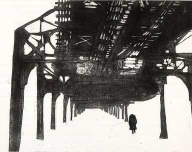 Gerson Leiber (American, 1921-2018). <em>Under the El</em>, 1957. Etching on wove paper, 17 3/4 x 23 7/8 in. (45.1 x 60.6 cm). Brooklyn Museum, Gift of the artist, 59.64.1. © artist or artist's estate (Photo: Brooklyn Museum, CUR.59.64.1.jpg)