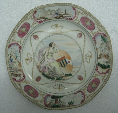 <em>Plate Depicting a Female Figure</em>. Porcelain with over-glazed painted decoration Brooklyn Museum, Bequest of James Hazen Hyde, 60.12.58. Creative Commons-BY (Photo: Brooklyn Museum, CUR.60.12.58_top.jpg)