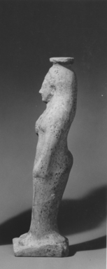Greek. <em>Vase in Form of a Woman</em>, late 5th century B.C.E. Clay, slip, Height: 7 5/8 in. (19.4 cm). Brooklyn Museum, Gift of Joseph V. Noble, 60.129.6. Creative Commons-BY (Photo: , CUR.60.129.6_NoNeg1_print_bw.jpg)