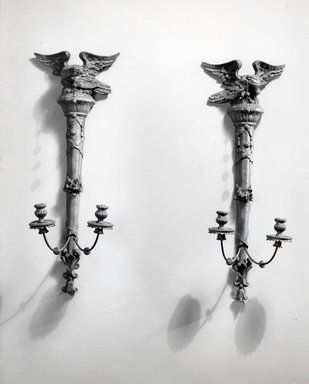 <em>Pair of Wall Sconces</em>. Carved and gilt deal, and gesso Brooklyn Museum, Gift of Mrs. Cheever Porter, 60.136.3a-b. Creative Commons-BY (Photo: Brooklyn Museum, CUR.60.136.3a-b_bw.jpg)