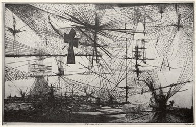 Gabor Peterdi (American, born Hungary, 1915-2001). <em>Vision of Fear</em>, 1953. Etching and engraving on zinc on paper, 35 5/8 x 36 3/4 in. (90.5 x 93.3 cm). Brooklyn Museum, Dick S. Ramsay Fund, 60.17.1. © artist or artist's estate (Photo: Brooklyn Museum, CUR.60.17.1.jpg)