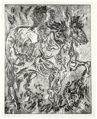 Gabor Peterdi (American, born Hungary, 1915-2001). <em>Alexander</em>, 1950. Etching, aquatint, engraving, soft ground and hard ground on paper, image: 28 x 21 5/8 in. (71.1 x 54.9 cm). Brooklyn Museum, Dick S. Ramsay Fund, 60.17.3. © artist or artist's estate (Photo: Brooklyn Museum, CUR.60.17.3.jpg)