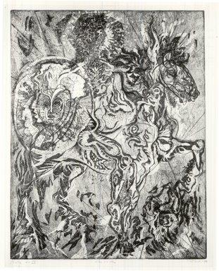 Gabor Peterdi (American, born Hungary, 1915-2001). <em>Alexander</em>, 1950. Etching, aquatint, engraving, soft ground and hard ground on paper, image: 28 x 21 5/8 in. (71.1 x 54.9 cm). Brooklyn Museum, Dick S. Ramsay Fund, 60.17.3. © artist or artist's estate (Photo: Brooklyn Museum, CUR.60.17.3.jpg)