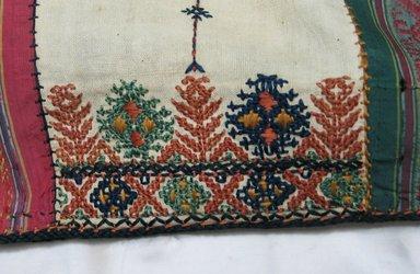 <em>Man's Shirt</em>, 19th century. Embroidered muslin, 66 15/16 x 44 1/2 in. (170 x 113 cm). Brooklyn Museum, Gift of Malvina Hoffman, 60.191.30 (Photo: Brooklyn Museum, CUR.60.191.30_detail1.jpg)