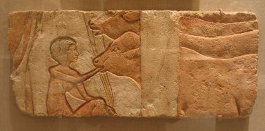 <em>Feeding Calves</em>, ca. 1352-1336 B.C.E. Limestone, pigment, 9 1/16 x 21 1/4 in. (23 x 54 cm). Brooklyn Museum, Charles Edwin Wilbour Fund, 60.197.4. Creative Commons-BY (Photo: Brooklyn Museum, CUR.60.197.4_wwg7.jpg)