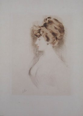 Paul-César Helleu (French, 1859-1927). <em>Portrait of a Woman Facing Left</em>. Drypoint in color on wove paper, 15 3/4 x 11 11/16 in. (40 x 29.7 cm). Brooklyn Museum, Gift of Rodman A. Heeren, 60.203.1 (Photo: Brooklyn Museum, CUR.60.203.1.jpg)