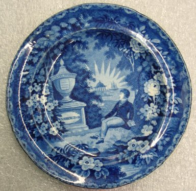 Enoch Wood & Sons (active 1818-1846). <em>Plate (Lafayette at the Tomb of Washington)</em>, ca. 1825-1830. Glazed earthenware, 9/16 x 7 3/8 x 7 3/8 in. (1.4 x 18.7 x 18.7 cm). Brooklyn Museum, Gift of Mrs. William C. Esty, 60.213.212. Creative Commons-BY (Photo: Brooklyn Museum, CUR.60.213.212.jpg)