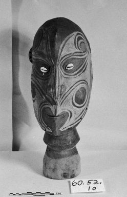 <em>Carved Head on Base</em>, 20th century. Wood, pigment, 14 15/16 x 5 7/8 in. (38 x 15 cm). Brooklyn Museum, Museum Collection Fund, 60.52.10. Creative Commons-BY (Photo: Brooklyn Museum, CUR.60.52.10_bw.jpg)