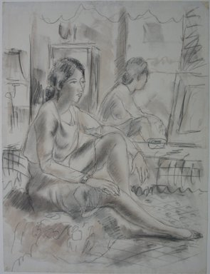 Emil Ganso (American, 1895-1941). <em>Seated Woman</em>, n.d. Chalk and graphite on paper, Sheet: 20 13/16 x 15 3/4 in. (52.9 x 40 cm). Brooklyn Museum, Gift of Dr. Charles Goodsell, 60.54.1 (Photo: Brooklyn Museum, CUR.60.54.1.jpg)