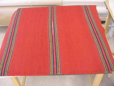 <em>Poncho</em>, 19th century?. Wool, 56 1/2 x 56 in. (143.5 x 142.2 cm). Brooklyn Museum, Gift of the International Business Machine Corporation, 60.87.30. Creative Commons-BY (Photo: Brooklyn Museum, CUR.60.87.30.jpg)