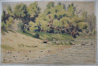 Louis Michel Eilshemius (American, 1864-1942). <em>Beach Scene, Samoa</em>, n.d. Watercolor on paper, Sheet: 12 x 18 1/8 in. (30.5 x 46 cm). Brooklyn Museum, Gift of Dr. Lillian Malcove, 61.120.4 (Photo: Brooklyn Museum, CUR.61.120.4.jpg)