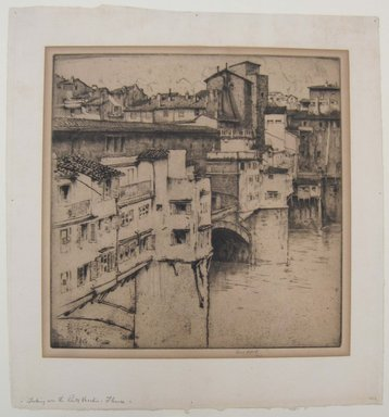 Ernest David Roth (American, 1879-1964). <em>Looking over to Ponte Vecchio, Florence</em>, 1913. Etching on cream laid paper, image: 10 1/16 x 12 1/8 in. (25.5 x 30.8 cm). Brooklyn Museum, Gift of Mrs. Mata Roudin, 61.121.2 (Photo: Brooklyn Museum, CUR.61.121.2.jpg)
