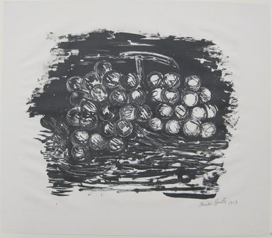 Marsden Hartley (American, 1877-1943). <em>Grapes</em>, 1923. Lithograph in black ink on cream, medium weight, very slightly textured wove paper, Sheet: 13 7/16 x 15 7/16 in. (34.1 x 39.2 cm). Brooklyn Museum, Dick S. Ramsay Fund, 61.4.2. © artist or artist's estate (Photo: Brooklyn Museum, CUR.61.4.2.jpg)