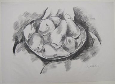 Marsden Hartley (American, 1877-1943). <em>Dish of Apples and Pears</em>, 1923. Lithograph in black ink on off-white, moderately thick, slightly textured machine-made wove paper, Sheet: 15 7/16 x 21 1/2 in. (39.2 x 54.6 cm). Brooklyn Museum, Dick S. Ramsay Fund, 61.4.3. © artist or artist's estate (Photo: Brooklyn Museum, CUR.61.4.3.jpg)