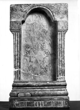 Roman. <em>Funerary Monument in Form of a Niche</em>. Marble Brooklyn Museum, Bequest of Mary Olcott in memory of her brother, George N. Olcott, and her grandfather, Charles Mann Olcott, one of the founders of the Brooklyn Institute of Arts and Sciences, 62.147.10. Creative Commons-BY (Photo: Brooklyn Museum, CUR.62.147.10_negB_print_bw.jpg)
