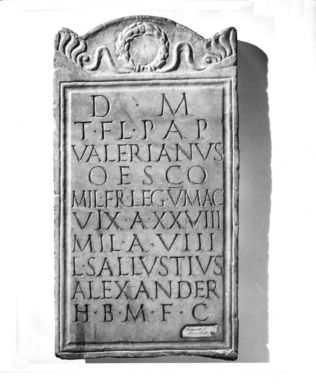 Roman. <em>Tombstone with Ten Lines of Latin Incised Inscription</em>. Marble Brooklyn Museum, Bequest of Mary Olcott in memory of her brother, George N. Olcott, and her grandfather, Charles Mann Olcott, one of the founders of the Brooklyn Institute of Arts and Sciences, 62.147.11. Creative Commons-BY (Photo: Brooklyn Museum, CUR.62.147.11_negA_print_bw.jpg)