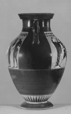 Greek. <em>Black-Figure Amphora</em>, 550-540 B.C.E. Clay, slip, 15 3/4 x diam. 10 1/16 in. (40 x 25.5 cm). Brooklyn Museum, Bequest of Mary Olcott in memory of her brother, George N. Olcott, and her grandfather, Charles Mann Olcott, one of the founders of the Brooklyn Institute of Arts and Sciences, 62.147.1. Creative Commons-BY (Photo: Brooklyn Museum, CUR.62.147.1_NegD_print_bw.jpg)