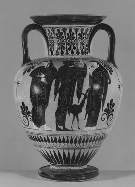 Leagros Group. <em>Black Figure Amphora</em>, 520-510 B.C.E. Clay, slip, 15 3/4 x  Diam. of body 10 5/8 in. (40 x 27 cm). Brooklyn Museum, Bequest of Mary Olcott in memory of her brother, George N. Olcott, and her grandfather, Charles Mann Olcott, one of the founders of the Brooklyn Institute of Arts and Sciences, 62.147.2. Creative Commons-BY (Photo: Brooklyn Museum, CUR.62.147.2_NegA_print_bw.jpg)