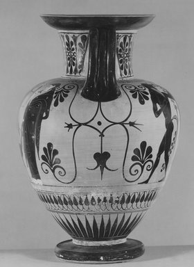 Leagros Group. <em>Black-Figure Amphora</em>, 520-510 B.C.E. Clay, slip, 15 3/4 x  Diam. of body 10 5/8 in. (40 x 27 cm). Brooklyn Museum, Bequest of Mary Olcott in memory of her brother, George N. Olcott, and her grandfather, Charles Mann Olcott, one of the founders of the Brooklyn Institute of Arts and Sciences, 62.147.2. Creative Commons-BY (Photo: Brooklyn Museum, CUR.62.147.2_NegC_print_bw.jpg)