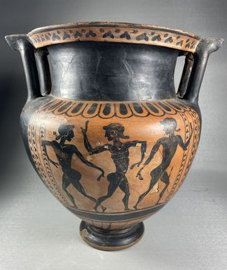 Etruscan. <em>Black-Figure Column Krater</em>, ca. 500 B.C.E. Clay, slip, 10 1/2 × 9 7/16 × 9 3/4 in. (26.7 × 24 × 24.8 cm). Brooklyn Museum, Bequest of Mary Olcott in memory of her brother, George N. Olcott, and her grandfather, Charles Mann Olcott, one of the founders of the Brooklyn Institute of Arts and Sciences, 62.147.3. Creative Commons-BY (Photo: Brooklyn Museum, CUR.62.147.3_view01.jpg)