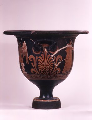 Apulian. <em>Red-Figure Bell Krater</em>, ca. 330 B.C.E. Clay, slip, 15 × Diam. 4 3/4 in. (38.1 × 12 cm). Brooklyn Museum, Bequest of Mary Olcott in memory of her brother, George N. Olcott, and her grandfather, Charles Mann Olcott, one of the founders of the Brooklyn Institute of Arts and Sciences, 62.147.5. Creative Commons-BY (Photo: Brooklyn Museum, CUR.62.147.5_view1.jpg)