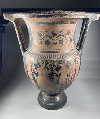 Greek. <em>Red-Figure Column Krater</em>, late 4th century B.C.E. Clay, slip, 16 × 11 5/8 × 14 1/8 in. (40.7 × 29.6 × 35.8 cm). Brooklyn Museum, Bequest of Mary Olcott in memory of her brother, George N. Olcott, and her grandfather, Charles Mann Olcott, one of the founders of the Brooklyn Institute of Arts and Sciences, 62.147.8. Creative Commons-BY (Photo: Brooklyn Museum, CUR.62.147.8_view01.jpg)
