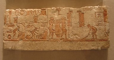 <em>Kitchen Scene</em>, ca. 1352-1336 B.C.E. Limestone, pigment, 8 7/16 x 21 1/4 in. (21.5 x 54 cm). Brooklyn Museum, Charles Edwin Wilbour Fund, 62.149. Creative Commons-BY (Photo: Brooklyn Museum, CUR.62.149_wwg7.jpg)