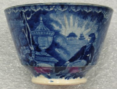 Enoch Wood & Sons (active 1818-1846). <em>Cup and Saucer</em>, ca. 1825-1830. Earthenware, Cup (a): 2 5/8 x 3 3/4 x 3 3/4 in. (6.7 x 9.5 x 9.5 cm). Brooklyn Museum, Gift of Mrs. William C. Esty, 62.176.62a-b. Creative Commons-BY (Photo: Brooklyn Museum, CUR.62.176.62a-b_exterior_a.jpg)