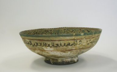 <em>Deep Bowl</em>, 12th-13th century. Ceramic; mina'i ware (enameled) or haft rangi (seven colors) ware; fritware, in-glaze painted in blue, turquoise, and red on an opaque white glaze, overglaze painted in black, 3 3/8 x 8 9/16 in. (8.5 x 21.8 cm). Brooklyn Museum, Gift of Mrs. Joseph M. Schulte, 62.178.1. Creative Commons-BY (Photo: Brooklyn Museum, CUR.62.178.1_exterior.jpg)