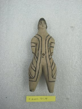 Karaja. <em>Standing Female Figurine</em>, ca. mid-20th century. Ceramic, pigment, 5 3/4 x 2 x 1 1/16 in. (14.6 x 5.1 x 2.7 cm). Brooklyn Museum, Gift of Ingeborg de Beausacq, 62.180.20. Creative Commons-BY (Photo: Brooklyn Museum, CUR.62.180.20_front.jpg)