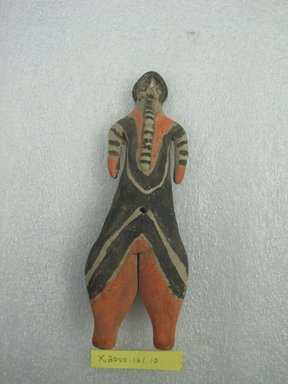 Karaja. <em>Standing Female Figurine</em>, ca. mid-20th century. Ceramic, pigment, 6 3/4 x 2 1/2 x 1 5/16 in. (17.1 x 6.4 x 3.3 cm). Brooklyn Museum, Gift of Ingeborg de Beausacq, 62.180.21. Creative Commons-BY (Photo: Brooklyn Museum, CUR.62.180.21_front.jpg)