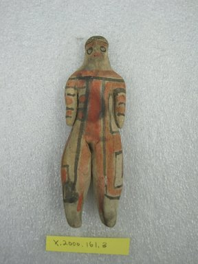 Karaja. <em>Standing Figure of Undetermined Sex</em>, ca. mid-20th century. Ceramic, pigment, 5 1/4 x 1 1/2 x 13/16 in. (13.3 x 3.8 x 2.1 cm). Brooklyn Museum, Gift of Ingeborg de Beausacq, 62.180.22. Creative Commons-BY (Photo: Brooklyn Museum, CUR.62.180.22_front.jpg)