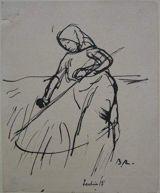 Boardman Robinson (American, 1876-1952). <em>Leaves From a Serbian Sketchbook: Sketch of a Woman with Scythe</em>, 1915. Pen and black ink on paper, Sheet: 5 11/16 x 4 5/8 in. (14.4 x 11.7 cm). Brooklyn Museum, Gift of Robert de Vries, 62.20.2 (Photo: Brooklyn Museum, CUR.62.20.2.jpg)