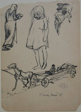 Boardman Robinson (American, 1876-1952). <em>Leaves From a Serbian Sketchbook: Page of Sketches: 1 Woman with Plate, 1 Child, 1 Profile</em>, 1915. Pen and black ink on paper, Sheet: 5 9/16 x 4 in. (14.1 x 10.2 cm). Brooklyn Museum, Gift of Robert de Vries, 62.20.3 (Photo: Brooklyn Museum, CUR.62.20.3.jpg)