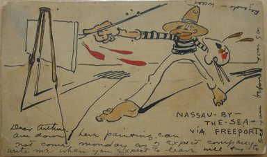 Walt Kuhn (American, 1877-1949). <em>1 of a Set of 6 Postcards: Nassau-By-The-Sea - Via Freeport</em>, 1906. Pen, ink, and watercolor over graphite on cardstock, Sheet: 3 1/4 x 5 1/2 in. (8.3 x 14 cm). Brooklyn Museum, Gift of Brenda Kuhn, 62.32.3. © artist or artist's estate (Photo: Brooklyn Museum, CUR.62.32.3.jpg)