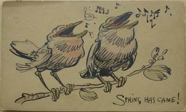 Walt Kuhn (American, 1877-1949). <em>1 of a Set of 6 Postcards: Spring Has Came</em>, May 1908. Pen, ink, and watercolor over graphite on cardstock, Sheet: 3 3/8 x 5 9/16 in. (8.6 x 14.1 cm). Brooklyn Museum, Gift of Brenda Kuhn, 62.32.4. © artist or artist's estate (Photo: Brooklyn Museum, CUR.62.32.4.jpg)