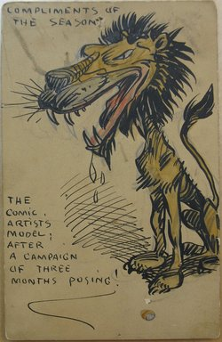 Walt Kuhn (American, 1877-1949). <em>1 of a Set of 6 Postcards: Compliments of the Season.  The Comic Artist's Model after a Campaign of Three Month's Posing</em>, December 1905. Pen, ink, and watercolor over graphite on cardstock, Sheet: 5 7/16 x 3 1/2 in. (13.8 x 8.9 cm). Brooklyn Museum, Gift of Brenda Kuhn, 62.32.6. © artist or artist's estate (Photo: Brooklyn Museum, CUR.62.32.6.jpg)