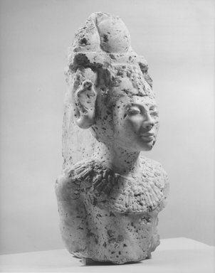 <em>Upper Half of Statue of Akhenaten</em>, ca. 1940-1942 C.E. Egyptian alabaster (calcite), Height: 22 13/16 in. (58 cm). Brooklyn Museum, Charles Edwin Wilbour Fund, 62.77.2. Creative Commons-BY (Photo: Brooklyn Museum, CUR.62.77.2_NegD_print_bw.jpg)