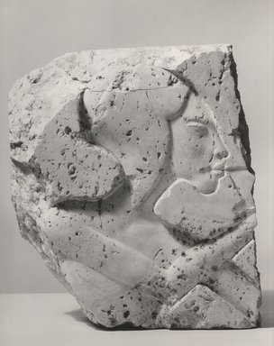 <em>Relief of a Princess</em>, 1940-1942 C.E. Egyptian alabaster (calcite), 17 x 13 x 6 1/2 in. (43.2 x 33 x 16.5 cm). Brooklyn Museum, Charles Edwin Wilbour Fund, 62.77.3. Creative Commons-BY (Photo: Brooklyn Museum, CUR.62.77.3_NegA_bw.jpg)