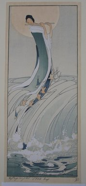 Bertha Lum (American, 1879-1954). <em>Song of the Brook</em>, 1916. Woodcut in color on Japan paper, Image: 12 x 5 1/16 in. (30.5 x 12.9 cm). Brooklyn Museum, Gift of the Achenbach Foundation for Graphic Arts, 63.108.3. © artist or artist's estate (Photo: Brooklyn Museum, CUR.63.108.3.jpg)