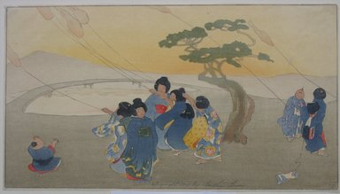 Bertha Lum (American, 1879-1954). <em>Kites</em>, 1913. Woodcut in color on wove Japan paper, Sheet: 8 3/16 x 14 5/8 in. (20.8 x 37.1 cm). Brooklyn Museum, Gift of the Achenbach Foundation for Graphic Arts, 63.108.4. © artist or artist's estate (Photo: Brooklyn Museum, CUR.63.108.4.jpg)