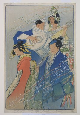 Bertha Lum (American, 1879-1954). <em>Costume Ball (or Confetti)</em>, 1924. Woodcut in color on wove paper, Sheet: 15 7/16 x 10 1/8 in. (39.2 x 25.7 cm). Brooklyn Museum, Gift of the Achenbach Foundation for Graphic Arts, 63.108.5. © artist or artist's estate (Photo: Brooklyn Museum, CUR.63.108.5.jpg)