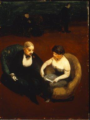 Guy Pène du Bois (American, 1884-1958). <em>Automobile Tires</em>, 1915. Oil on panel, 19 7/8 x 15 in. (50.5 x 38.1 cm). Brooklyn Museum, Gift of Chester Dale, 63.148.2 (Photo: Brooklyn Museum, CUR.63.148.2.jpg)