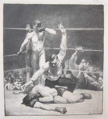 George Wesley Bellows (American, 1882-1925). <em>Punchinello in the House of Death (Irish Wake)</em>, 1923. Lithograph on wove paper, Image: 6 1/8 x 7 1/4 in. (15.6 x 18.4 cm). Brooklyn Museum, Gift of Chester Dale, 63.155.4. © artist or artist's estate (Photo: Brooklyn Museum, CUR.63.155.4.jpg)