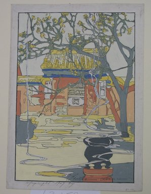 Bertha Lum (American, 1879-1954). <em>Chufu</em>, 1927. Raised line (lacquer?) print in color on Japan laid down paper, Sheet: 14 x 10 in. (35.6 x 25.4 cm). Brooklyn Museum, Dick S. Ramsay Fund, 63.159. © artist or artist's estate (Photo: Brooklyn Museum, CUR.63.159.jpg)