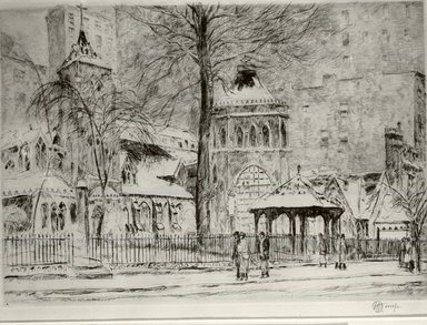 Frederick Childe Hassam (American, 1859-1935). <em>The Little Church Around the Corner</em>, 1923. Etching Brooklyn Museum, Gift of Joseph S. Gotlieb, 63.234.3 (Photo: Brooklyn Museum, CUR.63.234.3.jpg)