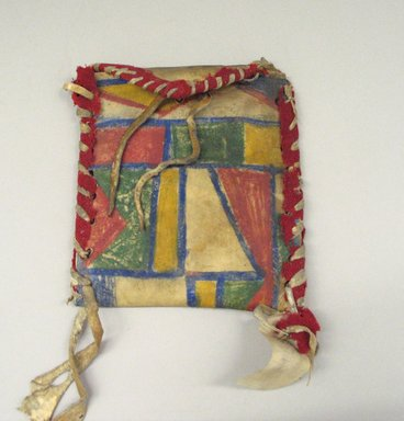 Blackfoot. <em>Pouch with Painted Geometric Designs</em>, 1801-1900. Cloth, rawhide, paint, 6 5/16 x 5 11/16 in. (16.0 x 14.5 cm). Brooklyn Museum, Gift of Annette Freund, 63.53.3. Creative Commons-BY (Photo: Brooklyn Museum, CUR.63.53.3_view1.jpg)