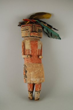 Hopi Pueblo. <em>Kachina Doll</em>, 1801-1900. Wood, pigment, feather, 13 3/8 x 4 3/4in. (34 x 12cm). Brooklyn Museum, Gift of Annette Freund, 63.53.7. Creative Commons-BY (Photo: Brooklyn Museum, CUR.63.53.7_front.jpg)