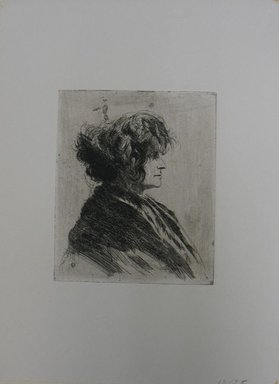 Joseph Stella (American, born Italy, 1877-1946). <em>Untitled (Bust of a Woman in Profile)</em>, n.d. Etching on paper, Sheet: 13 1/16 x 9 5/8 in. (33.2 x 24.4 cm). Brooklyn Museum, Gift of Bernard Rabin in memory of Nathan Krueger, 63.59.5 (Photo: Brooklyn Museum, CUR.63.59.5.jpg)