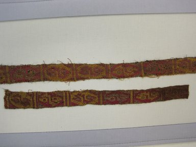 Chimú. <em>Textile Fragments, undetermined</em>, 1000-1532. Cotton, camelid fiber, A: 30 11/16 x 1 3/4in. (78 x 4.5cm). Brooklyn Museum, Gift of Jack Lenor Larsen, 63.81.14a-b. Creative Commons-BY (Photo: Brooklyn Museum, CUR.63.81.14a-b_view3.jpg)